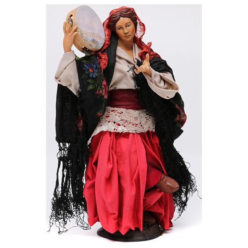 Danzatrice con tamburello per presepe Napoli stile '700 di 30 cm 1