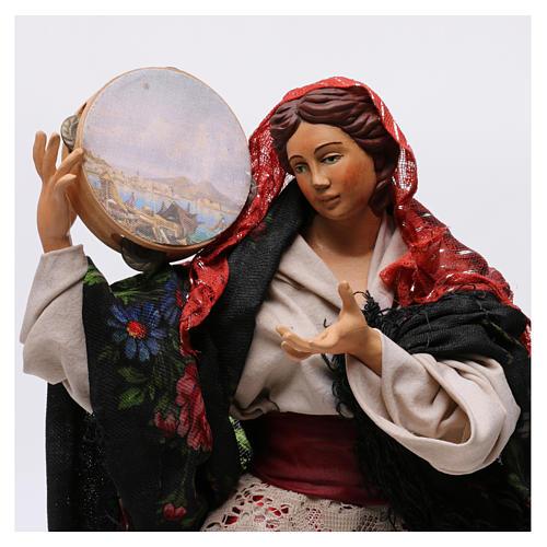 Danzatrice con tamburello per presepe Napoli stile '700 di 30 cm 2