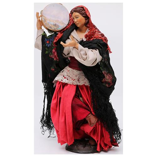 Danzatrice con tamburello per presepe Napoli stile '700 di 30 cm 3