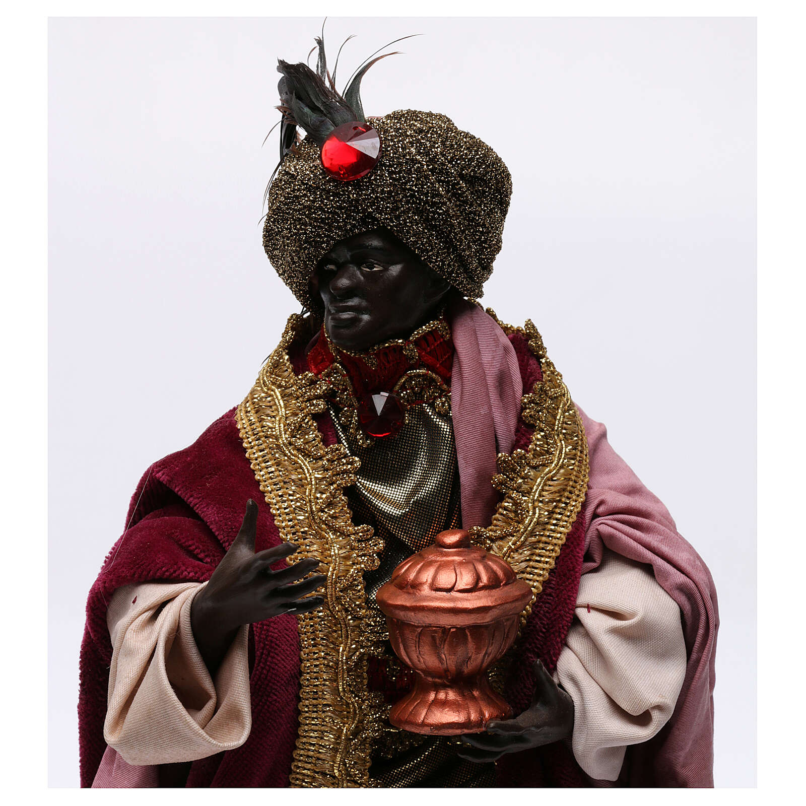 Dark skinned king (Magi) for Neapolitan nativity scene 30 cm 4
