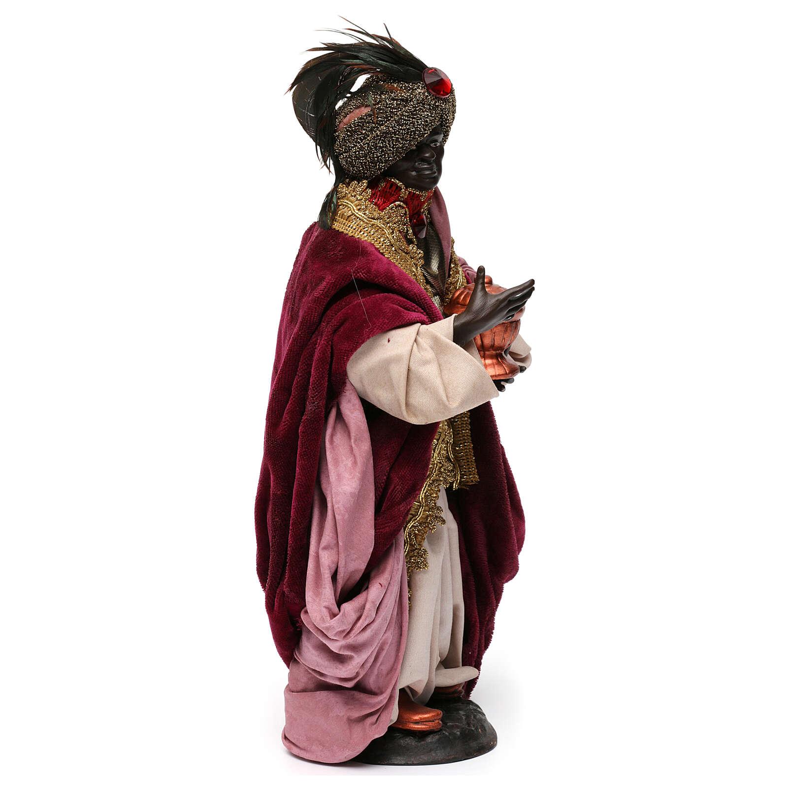 Dark skinned king (Magi) for Neapolitan nativity scene 30 cm 4