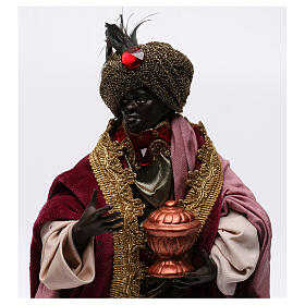 Re magio moro con dono per presepe Napoli stile 700 di 30 cm s2