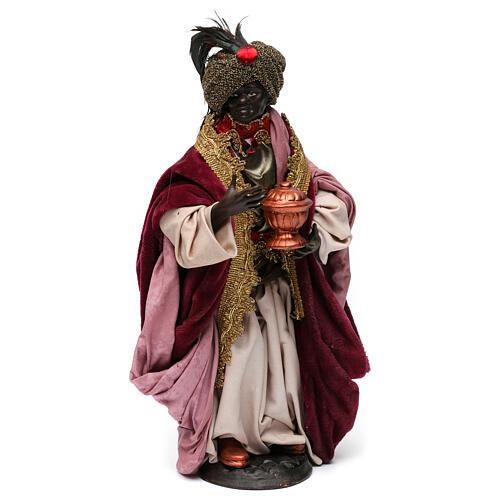 Re magio moro con dono per presepe Napoli stile 700 di 30 cm 1