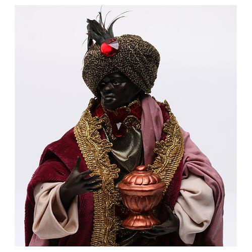 Re magio moro con dono per presepe Napoli stile 700 di 30 cm 2