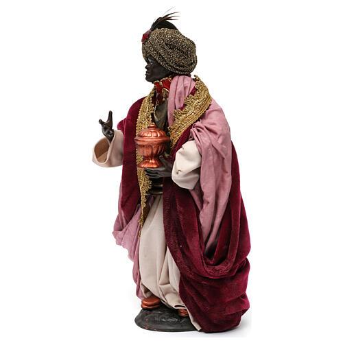 Re magio moro con dono per presepe Napoli stile 700 di 30 cm 3