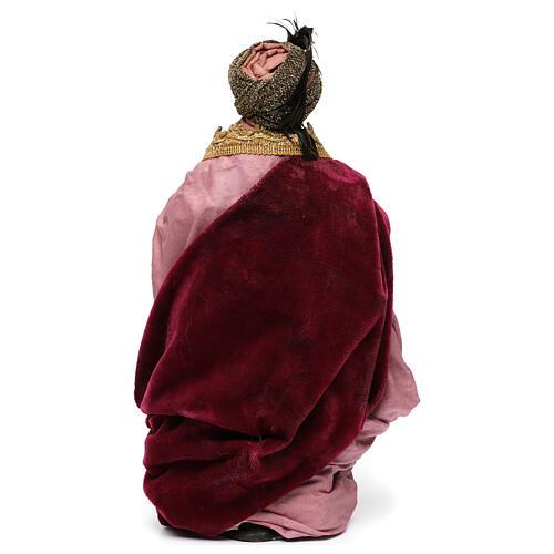 Re magio moro con dono per presepe Napoli stile 700 di 30 cm 5