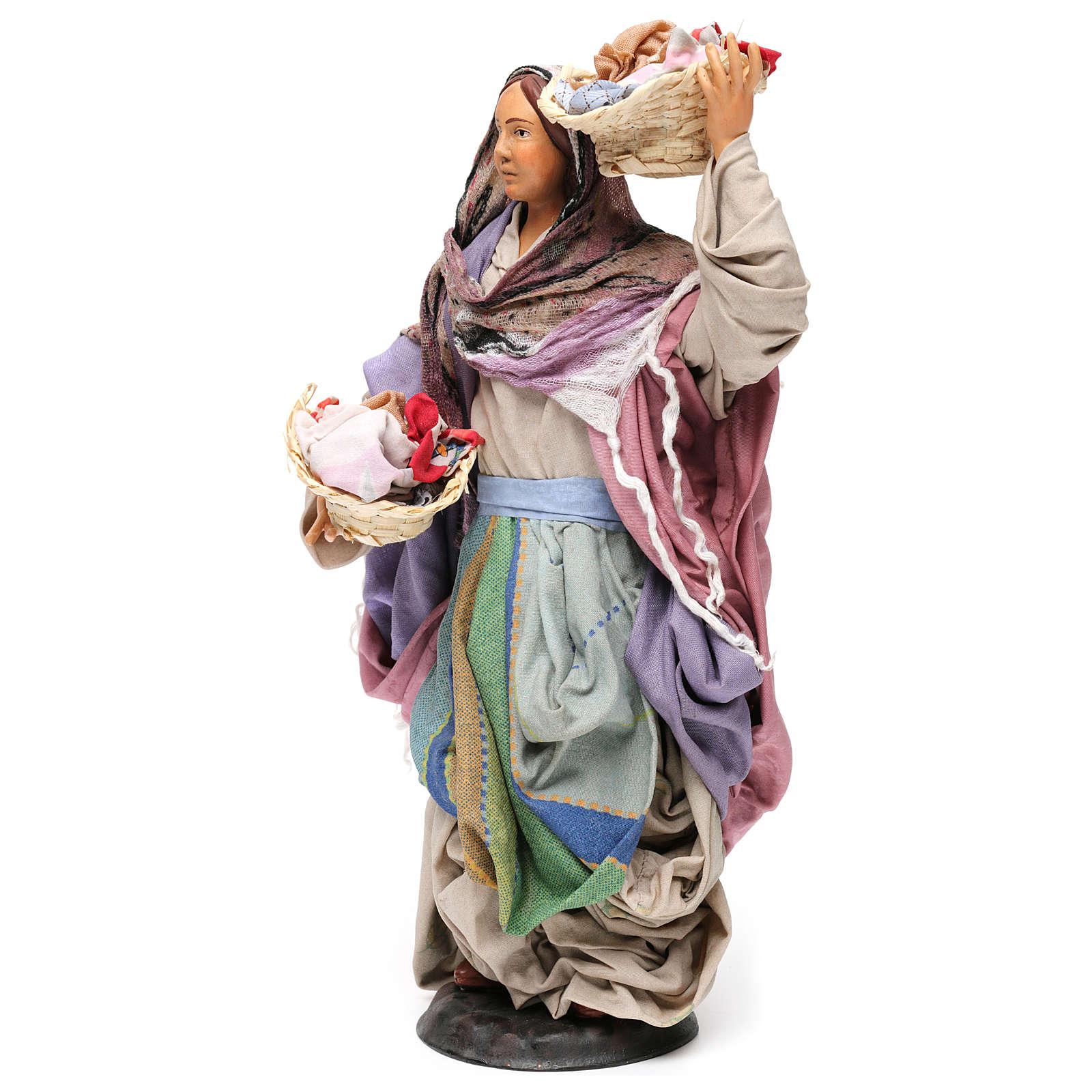 Donna con cesti di panni per presepe Napoli stile 700 di 30 cm 4