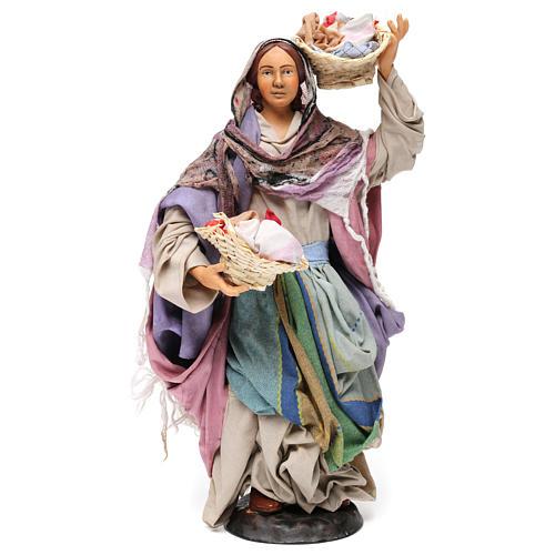 Donna con cesti di panni per presepe Napoli stile 700 di 30 cm 1