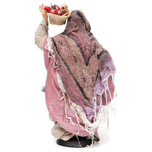 Donna con cesti di panni per presepe Napoli stile 700 di 30 cm 5