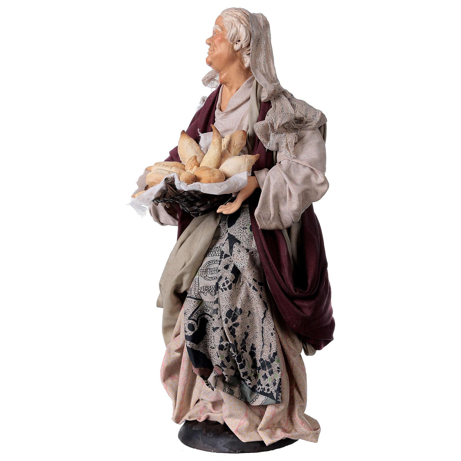 Mujer con cesta de pan para belén Nápoles estilo 700 de 30 cm de altura media 4