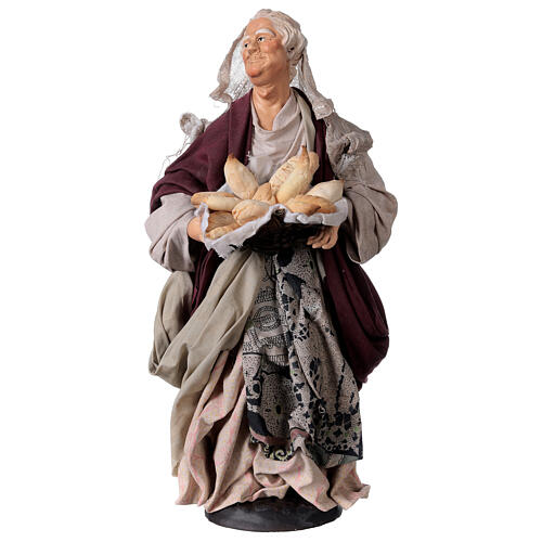 Mujer con cesta de pan para belén Nápoles estilo 700 de 30 cm de altura media 1
