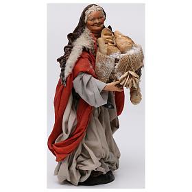 Donna con cesto di pane per presepe Napoli stile 700 di 30 cm s4