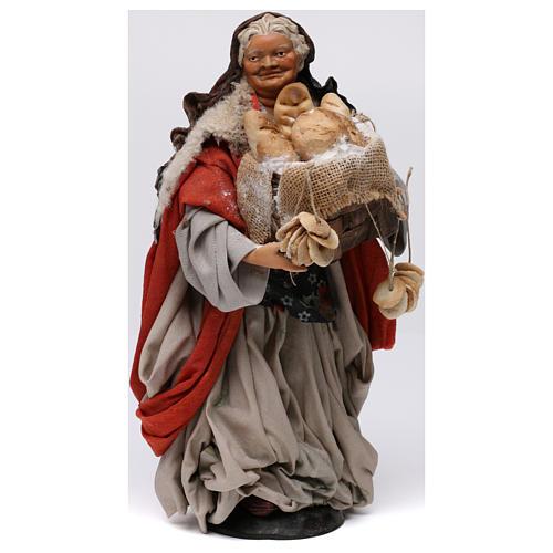 Donna con cesto di pane per presepe Napoli stile 700 di 30 cm 1