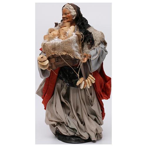 Donna con cesto di pane per presepe Napoli stile 700 di 30 cm 3