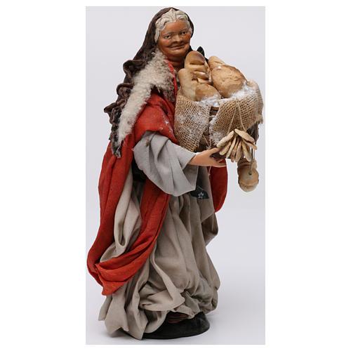 Donna con cesto di pane per presepe Napoli stile 700 di 30 cm 4