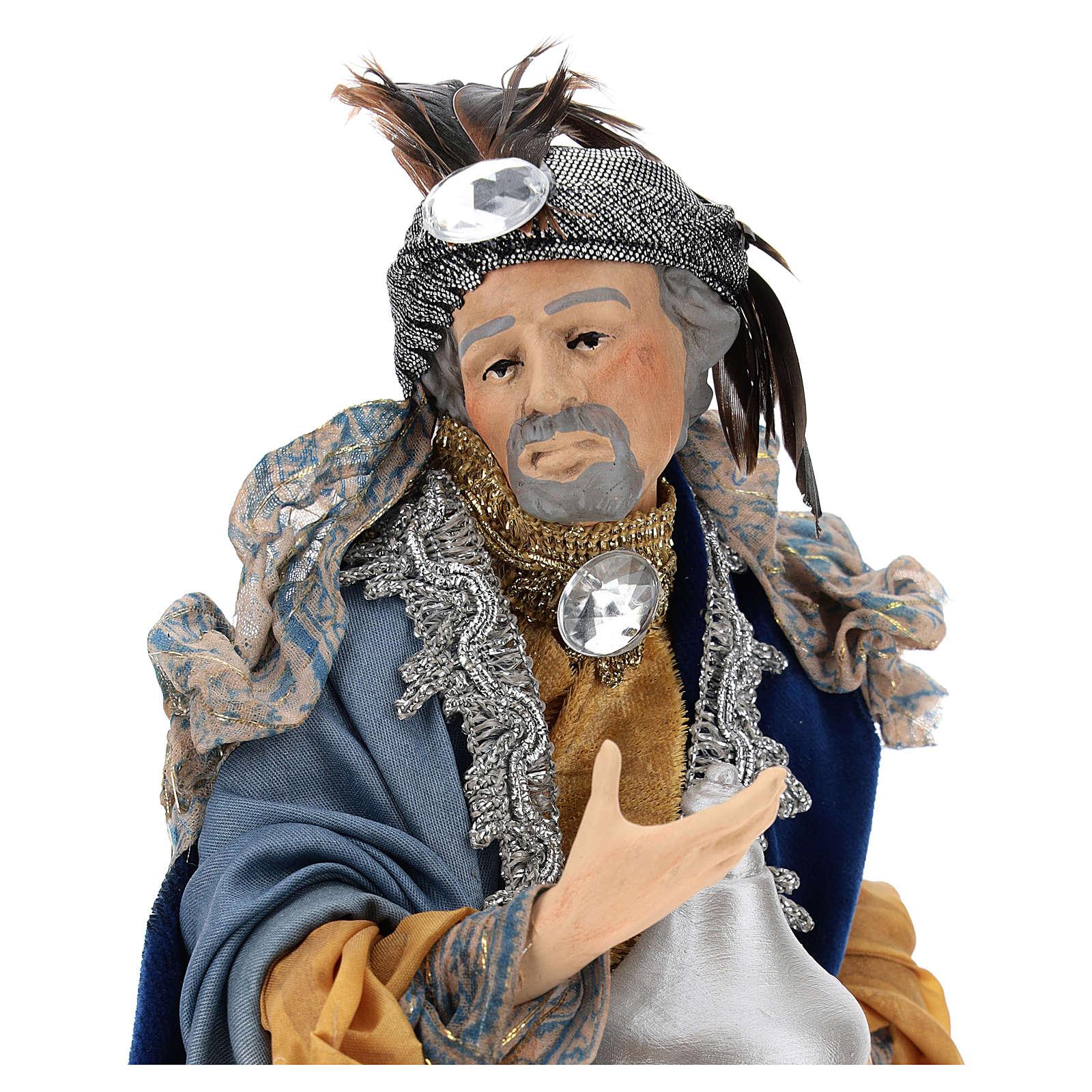 Light skinned king (Magi) for Neapolitan nativity scene 30 cm 4