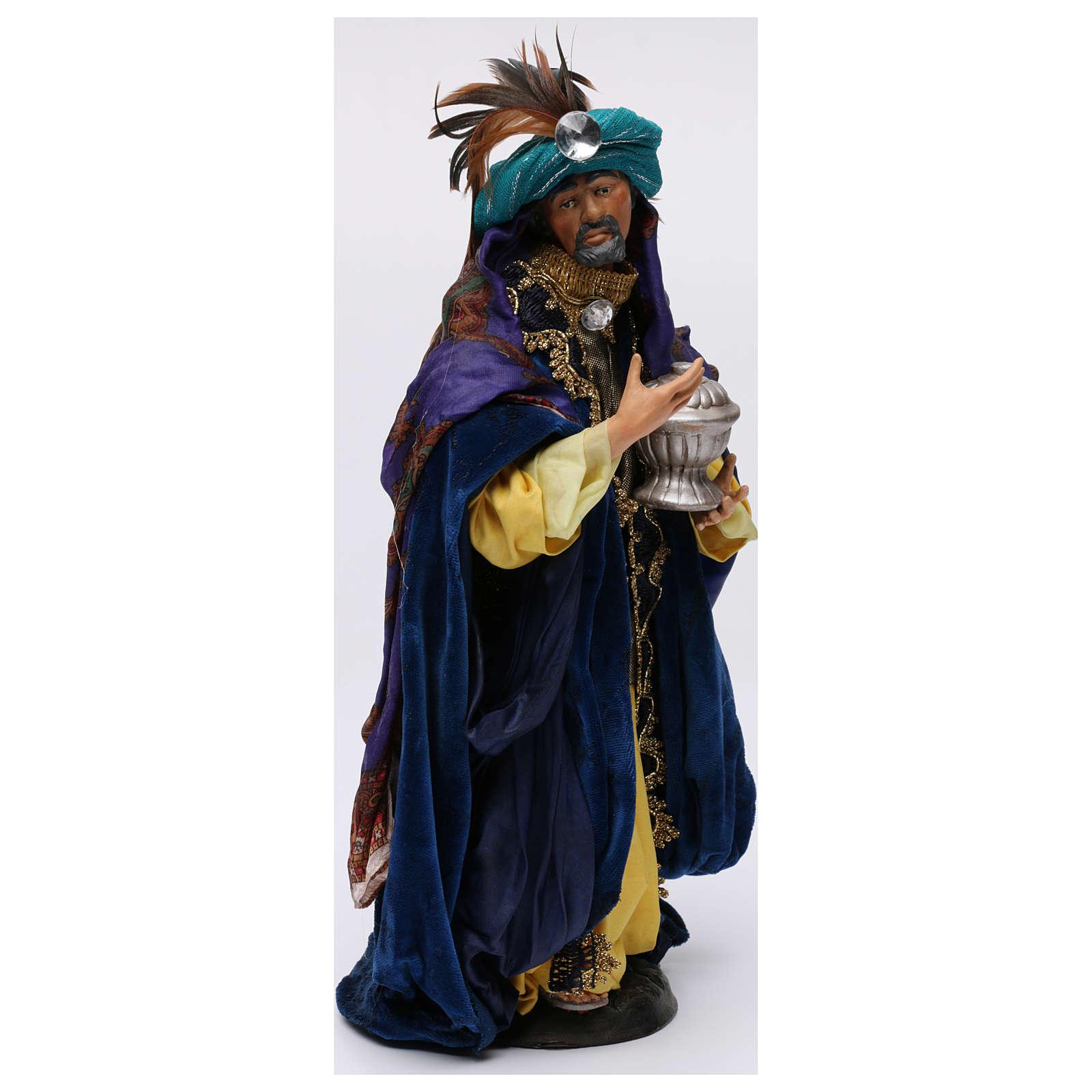 Re magio bianco in piedi per presepe Napoli stile 700 di 30 cm 4