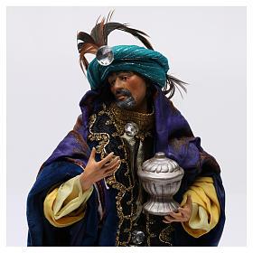 Re magio bianco in piedi per presepe Napoli stile 700 di 30 cm s2