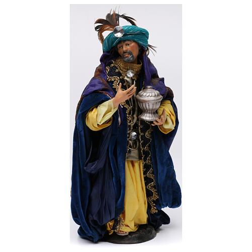 Re magio bianco in piedi per presepe Napoli stile 700 di 30 cm 1