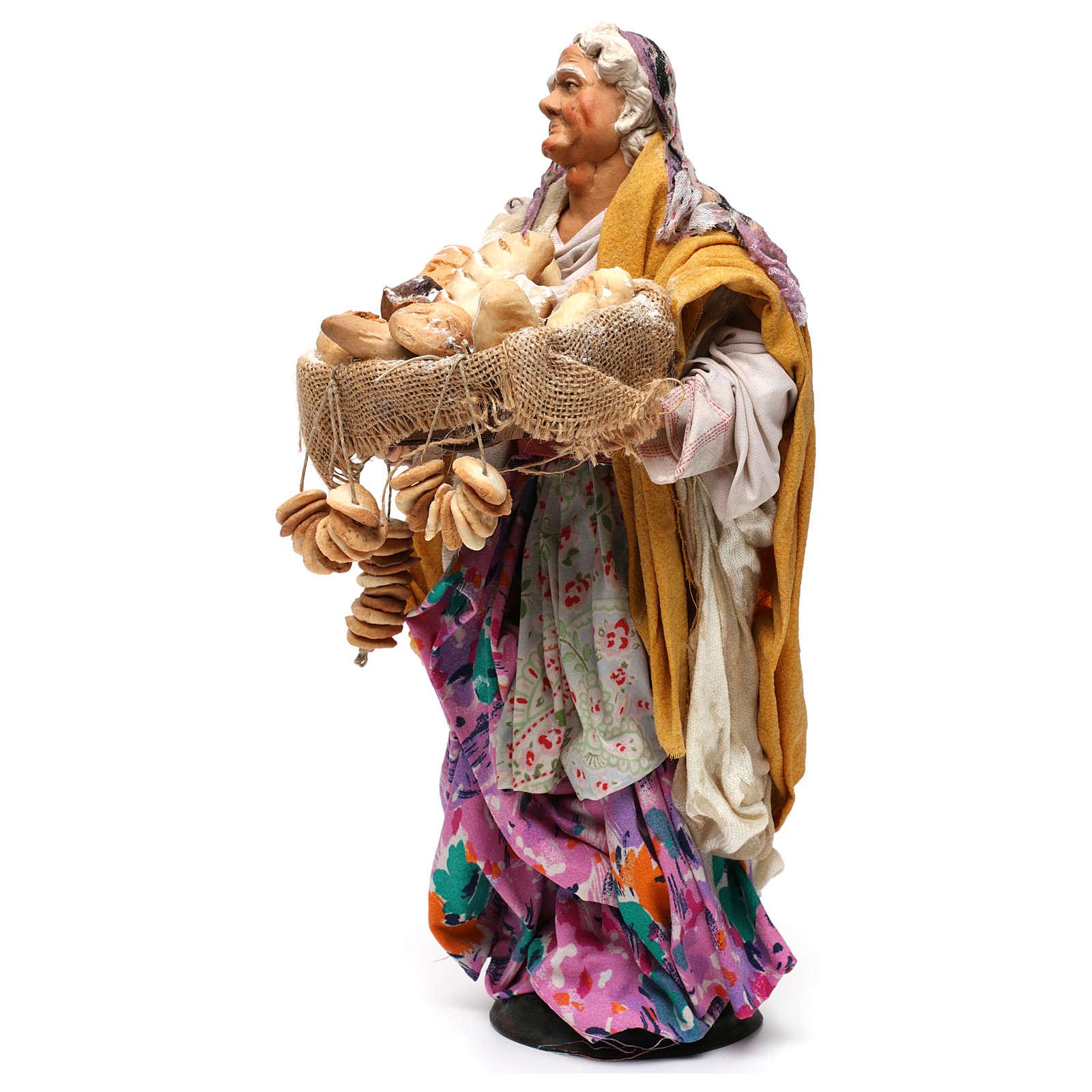 Vecchia con pagnotte per presepe Napoli stile '700 di 35 cm 4