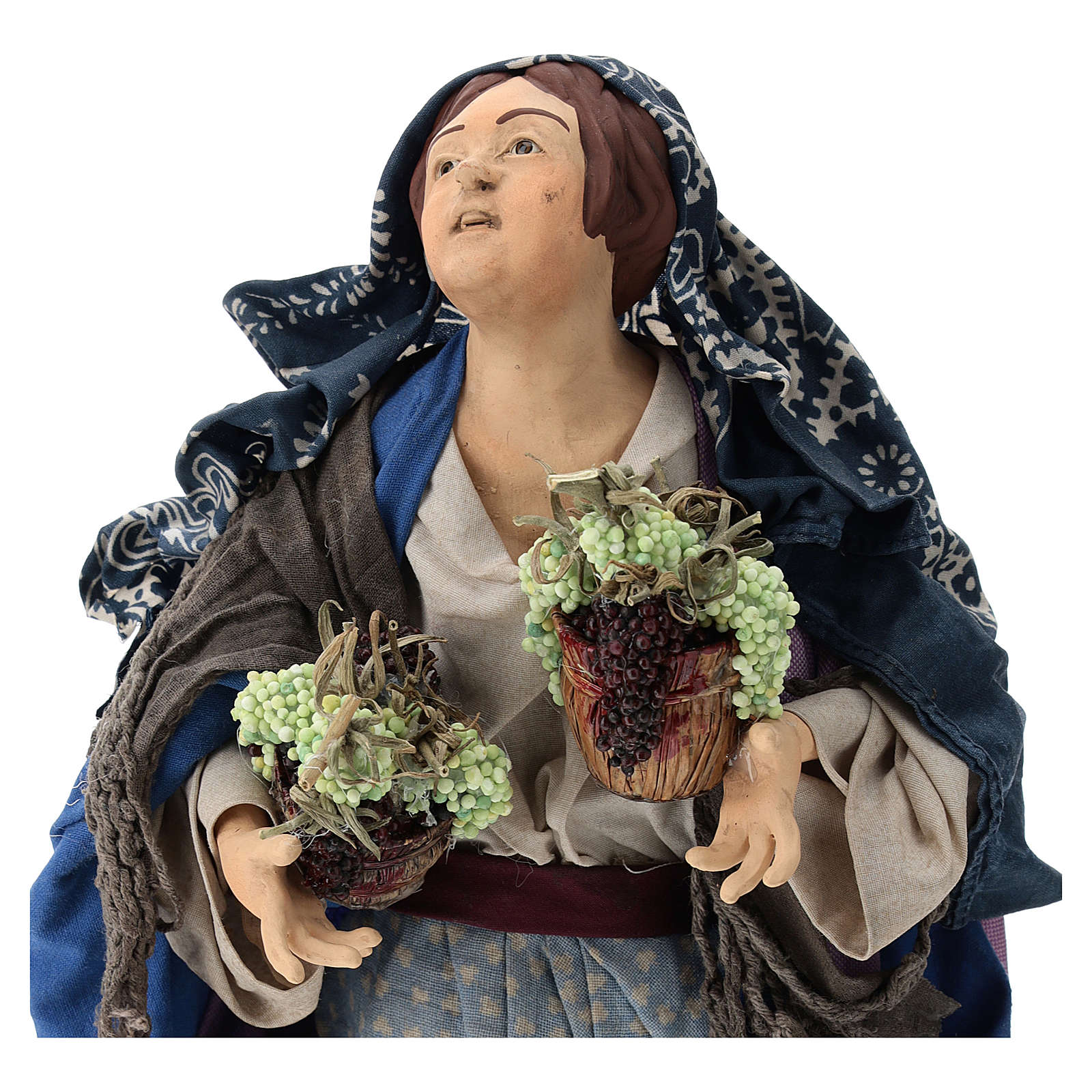 Woman with two baskets of grapes for 18th-century style Neapolitan Nativity Scene 35 cm 4