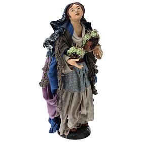 Donna con due cesti d'uva per presepe Napoli stile '700 di 35 cm s4