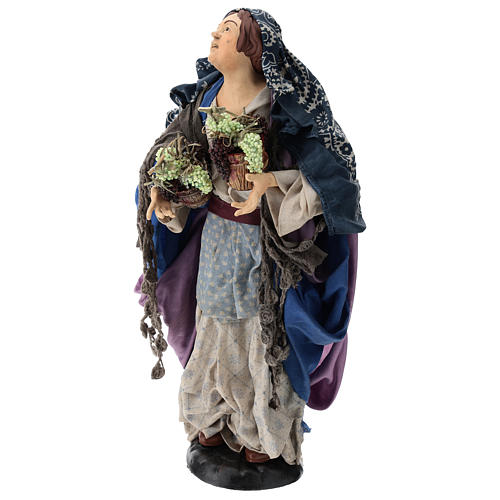 Donna con due cesti d'uva per presepe Napoli stile '700 di 35 cm 3