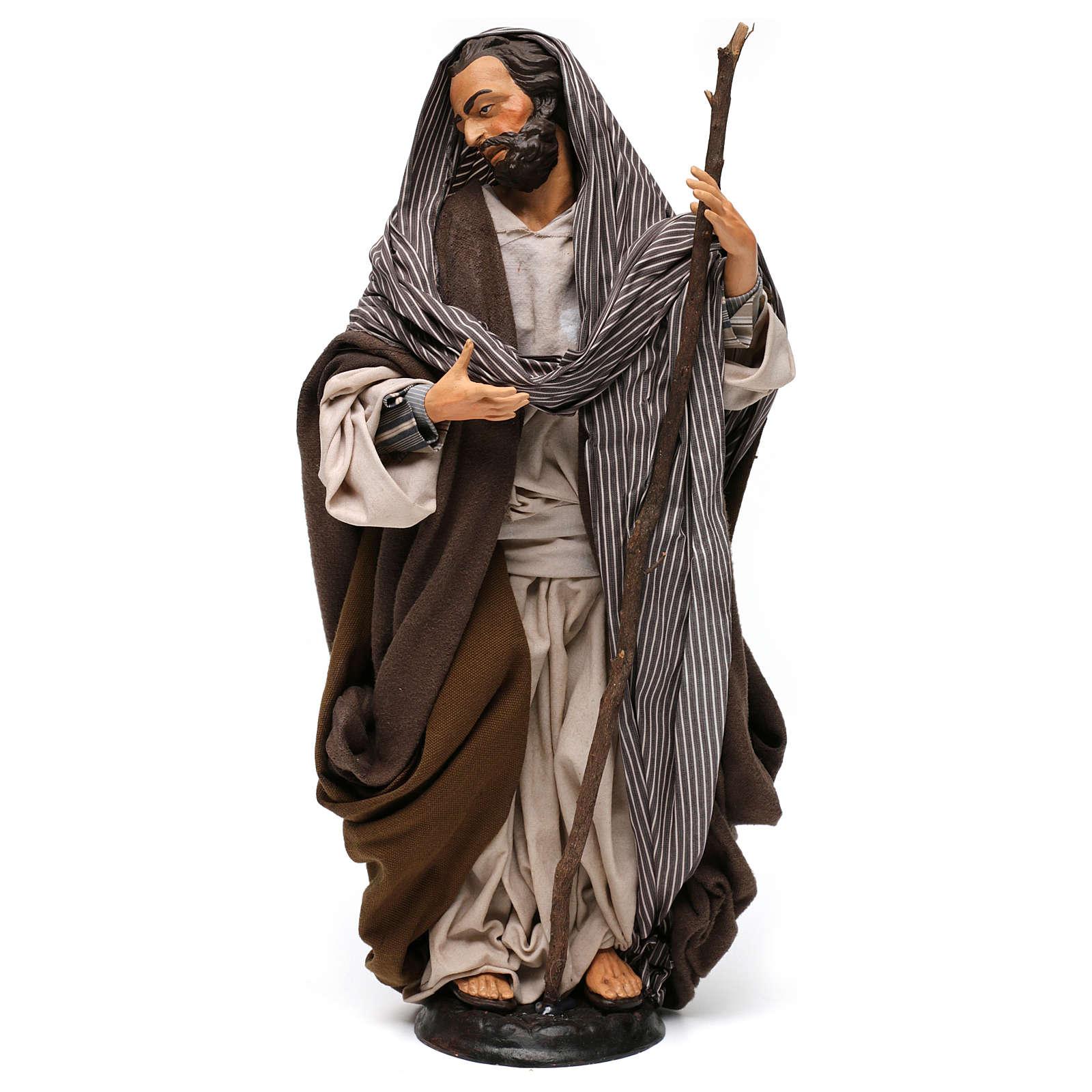 San José con bastón para belén Nápoles estilo 700 de 35 cm de altura media 4