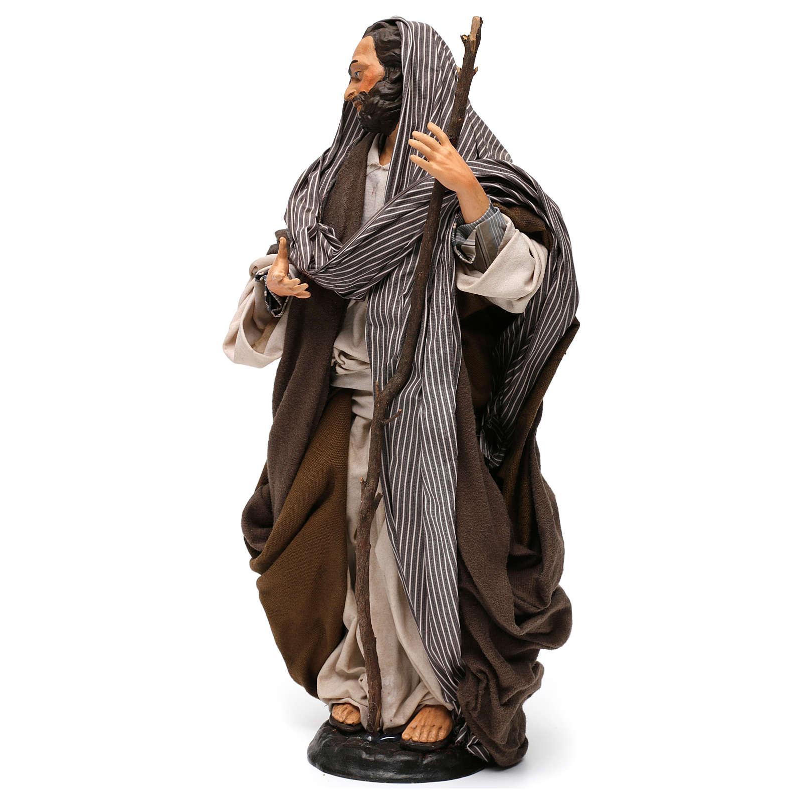 San Giuseppe con bastone per presepe Napoli stile 700 di 35 cm 4