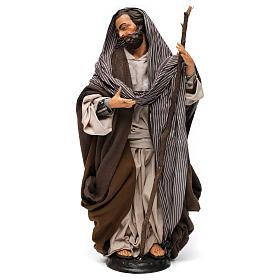 San Giuseppe con bastone per presepe Napoli stile 700 di 35 cm s1