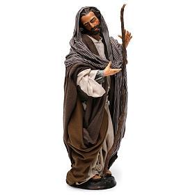 San Giuseppe con bastone per presepe Napoli stile 700 di 35 cm s4