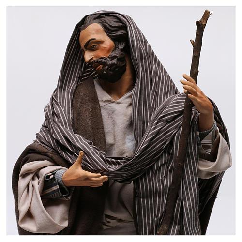 San Giuseppe con bastone per presepe Napoli stile 700 di 35 cm 2