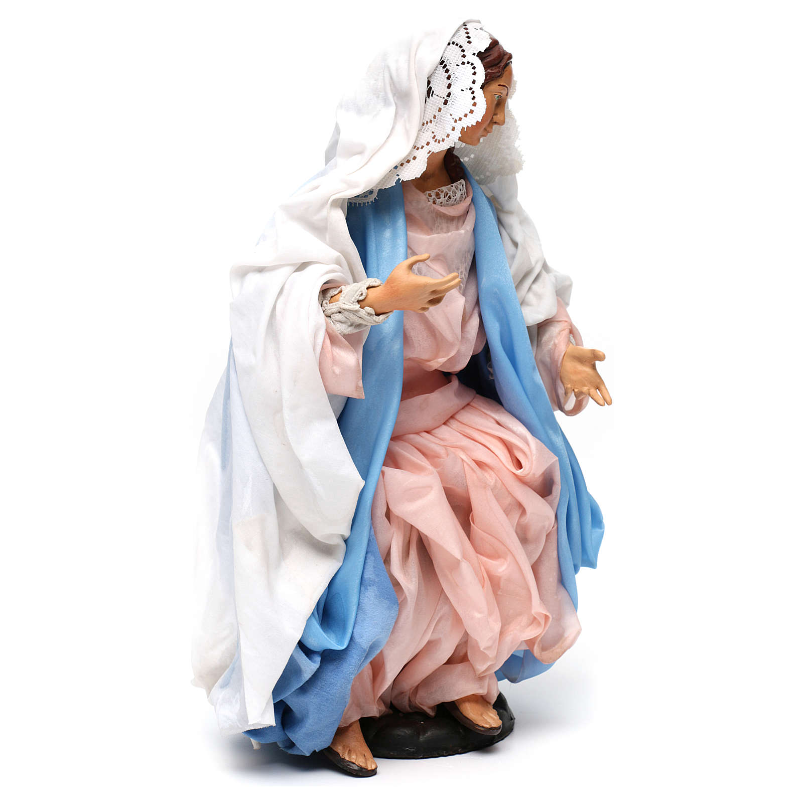 Mary sitting with open arms for 18th-century style Neapolitan Nativity Scene 35 cm 4