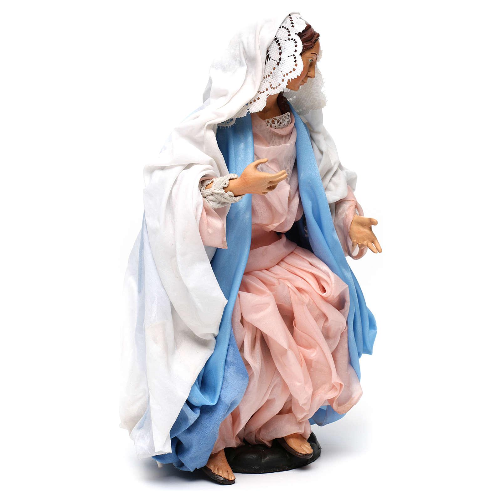María sentada con los brazos abiertos para belén Nápoles estilo 700 de 35 cm de altura media 4