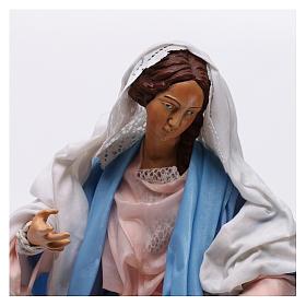 Maria seduta con braccia aperte per presepe Napoli stile 700 di 35 cm s2