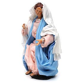 Maria seduta con braccia aperte per presepe Napoli stile 700 di 35 cm s3