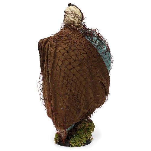 Pescatore in terracotta per presepe napoletano stile 700 di 35 cm  5