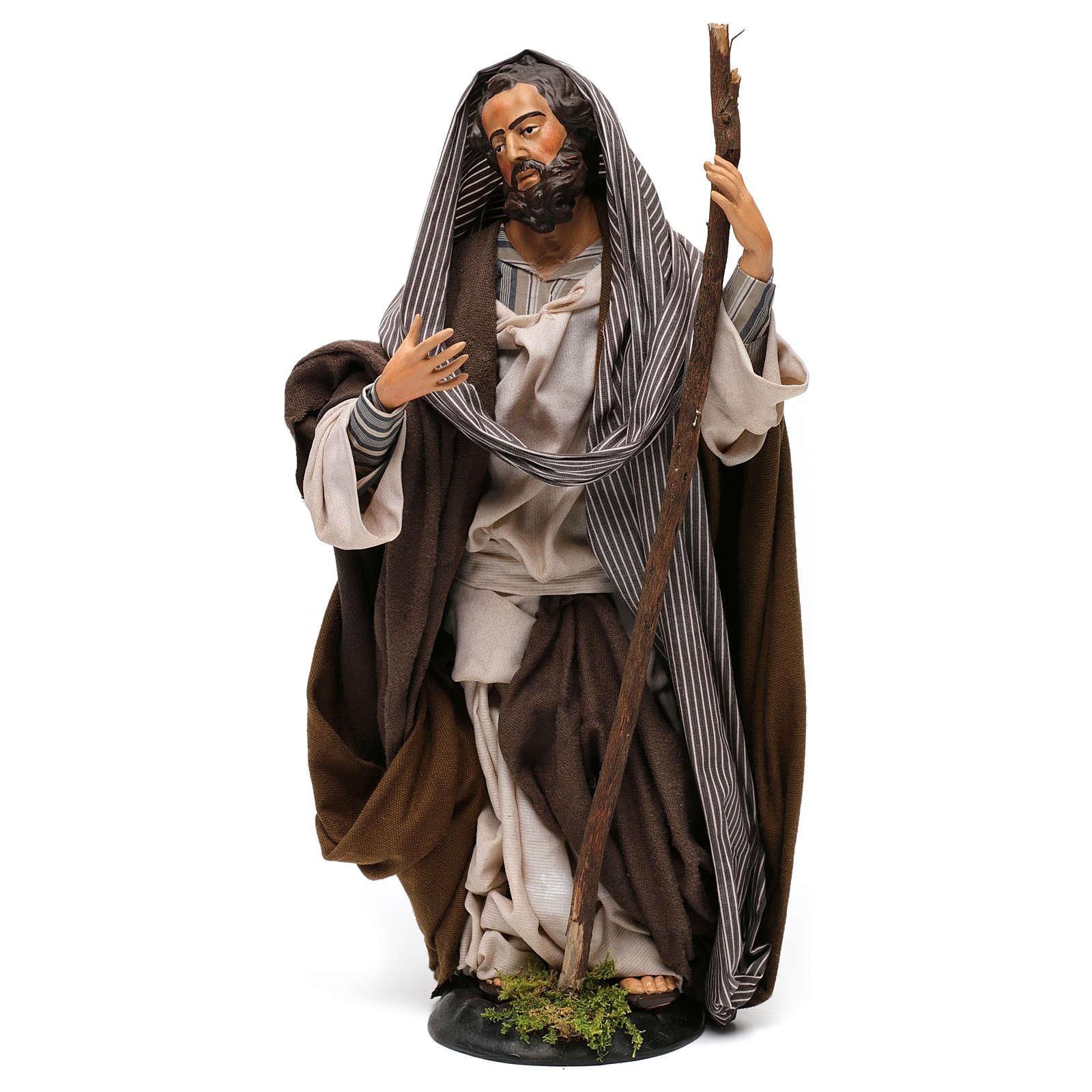 Saint Joseph en terre cuite pour crèche napolitaine style 1700 30 cm 4