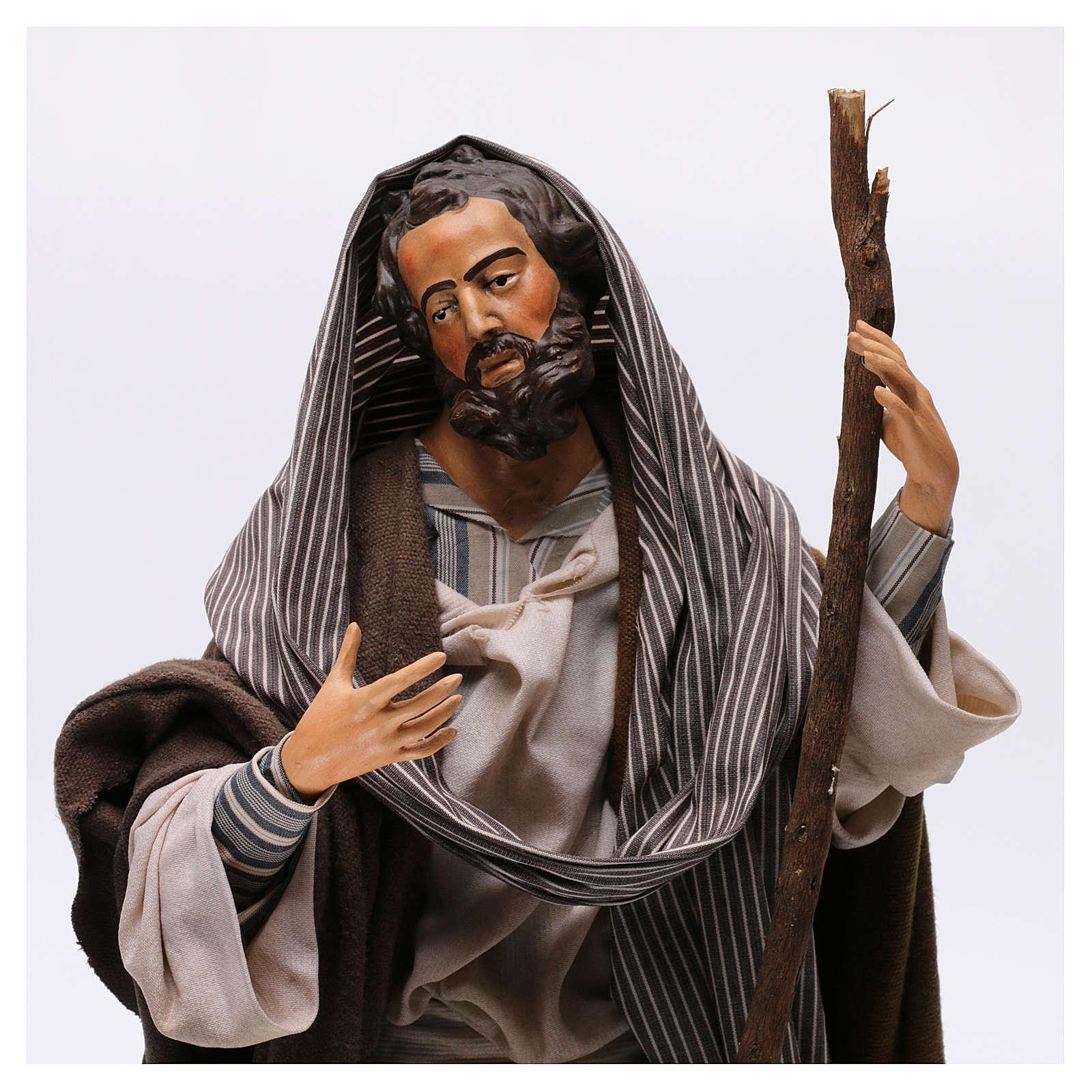 San Giuseppe in terracotta per presepe Napoli stile '700 di 30 cm 4