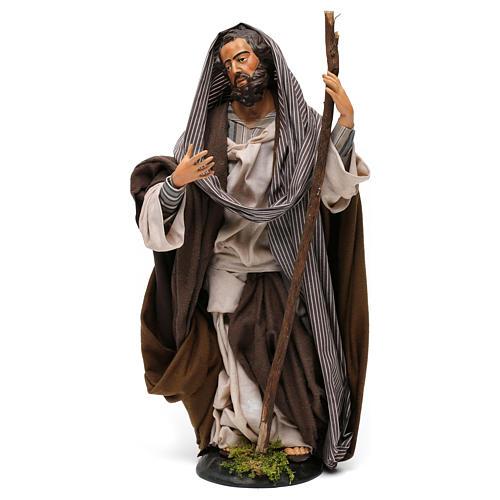 San Giuseppe in terracotta per presepe Napoli stile '700 di 30 cm 1