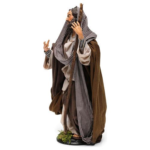 San Giuseppe in terracotta per presepe Napoli stile '700 di 30 cm 2