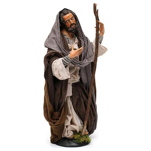 San Giuseppe in terracotta per presepe Napoli stile '700 di 30 cm 3
