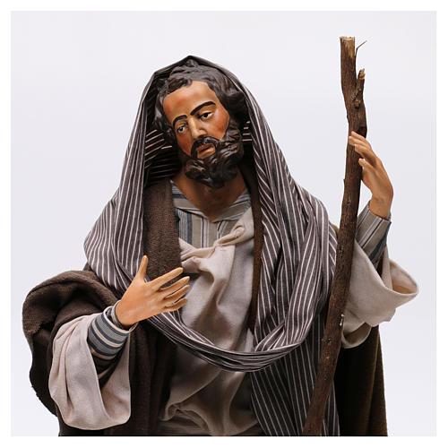 San Giuseppe in terracotta per presepe Napoli stile '700 di 30 cm 5