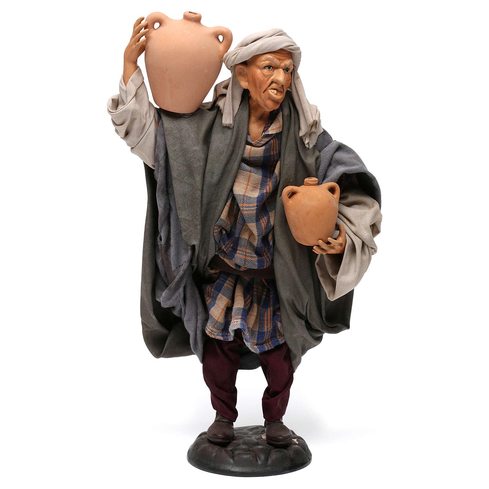 Uomo con anfore per presepe napoletano stile '700 di 30 cm 4