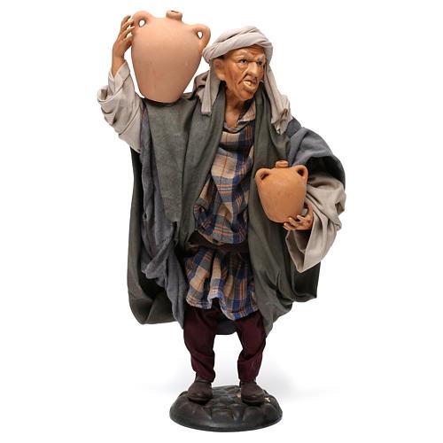 Uomo con anfore per presepe napoletano stile '700 di 30 cm 1