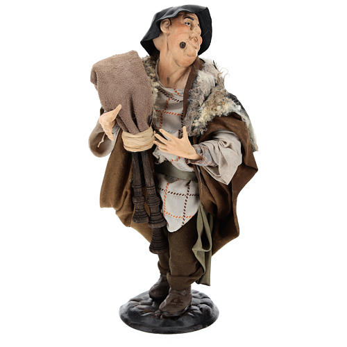 Bagpiper in terracotta 18th-century style Neapolitan Nativity Scene 30 cm 1