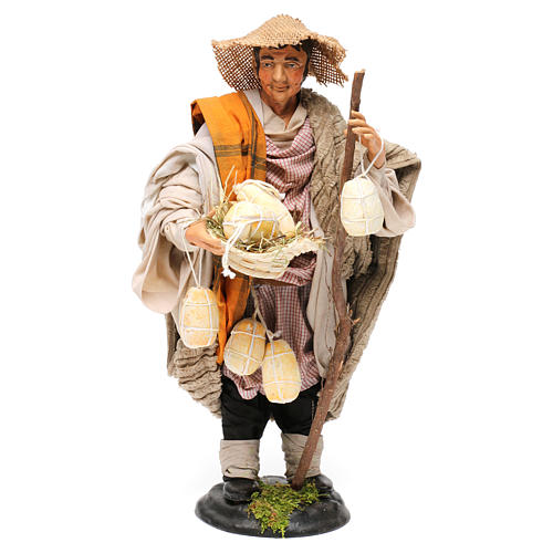 Shepherd with caciottas 18th-century style Neapolitan Nativity Scene 30 cm 1