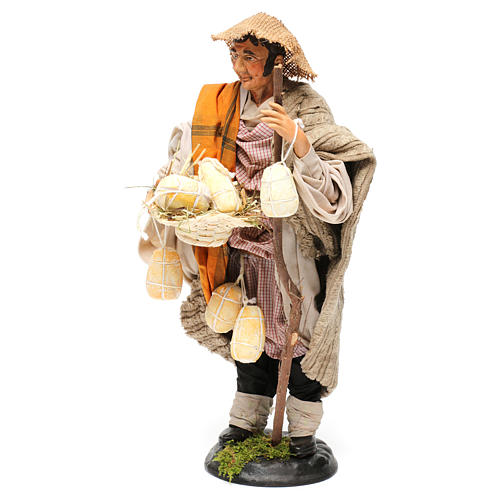 Shepherd with caciottas 18th-century style Neapolitan Nativity Scene 30 cm 3