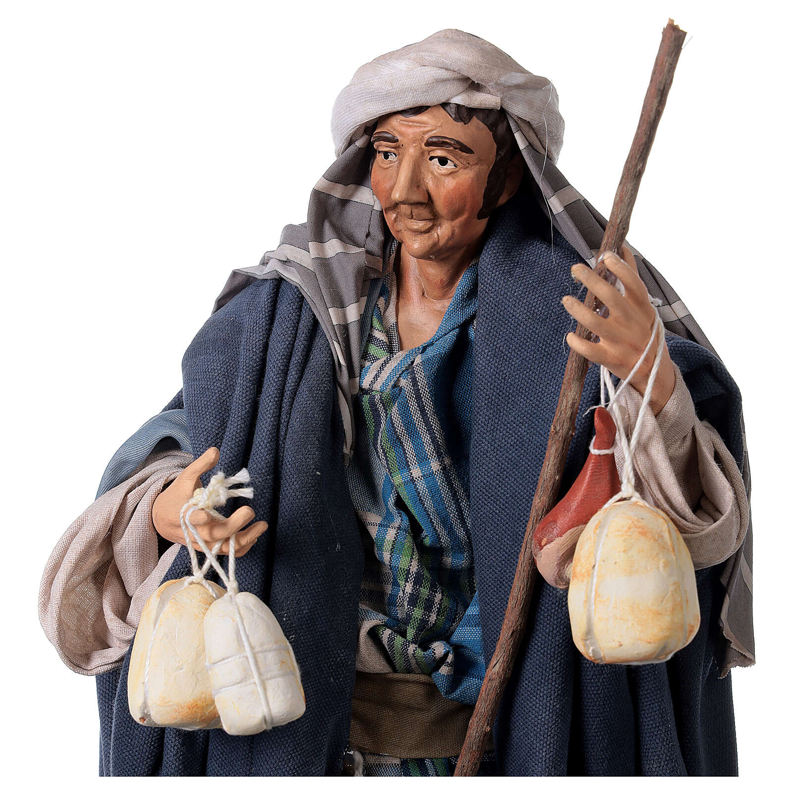 Shepherd with Caciotta for Neapolitan nativity style 700s of 30 cm 4