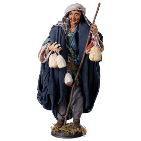 Shepherd with Caciotta for Neapolitan nativity style 700s of 30 cm s1